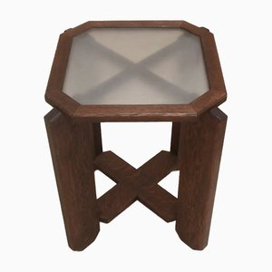 Vintage Dark Square Pedestal Table