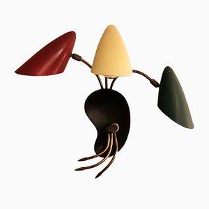 Dreifarbige Wandleuchte aus Metall & Messing, 1950er