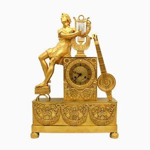 Horloge Empire en Bronze Doré, France, 19ème Siècle