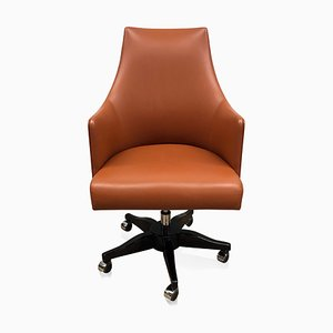 High Gloss Veneer & Orange Leather Office Chair from ADM