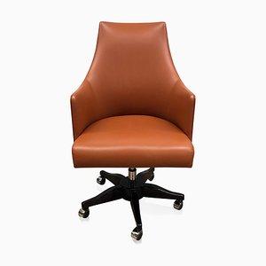 Sedia da ufficio impiallacciata in legno e in pelle arancione di ADM