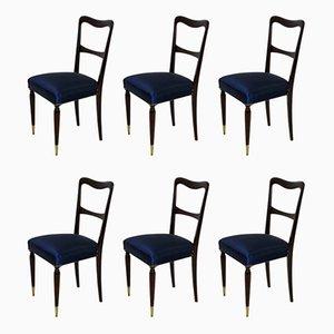 Italienische Esszimmerstühle mit Gestell aus Buche & Seidenbezug, 1950er, 6er Set