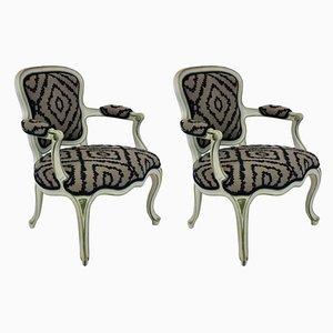 Italienische Sessel mit Holzgestell & Wollbezug, 1950er, 2er Set