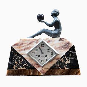 Horloge de Bureau en Marbre par Pronost Frères, 1920s