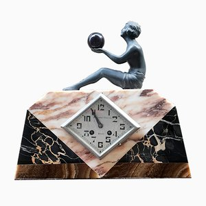 Marble Desk Clock by Pronost Freres, 1920s