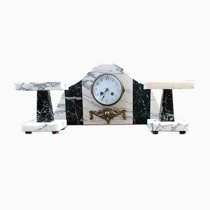 Horloge de Table Art Déco avec Socles en Marbre, 1920s