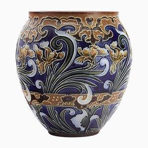Vase Antique en Grès à Motif Iris par Rosina Brown pour Royal Doulton, 1890s