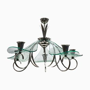 Italian Modern Glass and Silver Plated Chandelier, 1940s