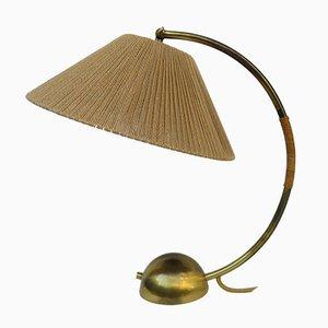 Lámpara de mesa de latón y sisal de Temde, años 50