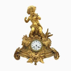 Reloj de péndulo francés Louis Philippe antiguo de bronce dorado