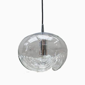 Grande Lampe Wave en Verre Transparent par Koch & Lowy pour Peill & Putzler, 1960s