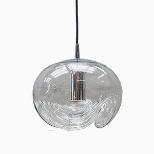 Lámpara Wave grande de vidrio transparente de Koch & Lowy para Peill & Putzler, años 60