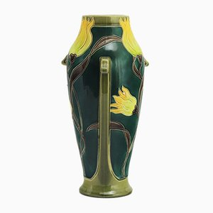 Antique Art Nouveau Tall Faience Vase from Burmantofts, 1900s