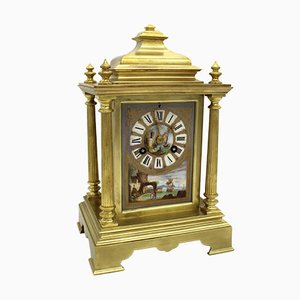 Antique Napoleon III French Gilt Bronze & Painted Porcelain Pendulum Clock