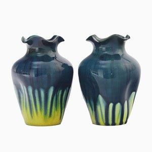 Kleine antike Vasen mit blauer & gelber Tropfglasur von Linthorpe Pottery, 2er Set
