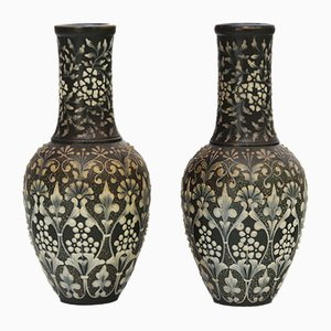 Antique Pate-Sur-Pate Vases by Eliza Simmance for Doulton Lambeth, Set of 2