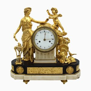 18th-Century Louis XVI French Gilt Bronze and Marble Pendulum Clock
