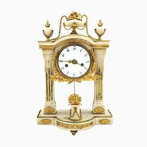 18th-Century Louis XVI French Gilt Bronze & Marble Pendulum Clock