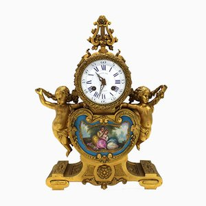 Antique Louis Philippe French Gilt Bronze & Sevres Porcelain Pendulum Clock