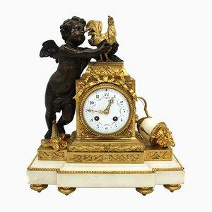 Reloj de péndulo francés Napoleón III antiguo de bronce dorado y mármol