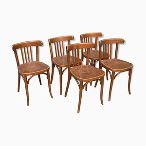 Vintage Wooden Bistro Chairs, Set of 5