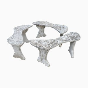 Mid-Century Rustic Concrete Garden Benches, Set of 3