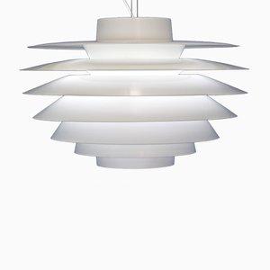 Lámpara colgante Verona danesa vintage blanca de Sven Middelboe para Nordisk Solar, años 70