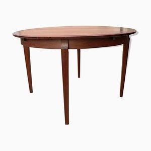 Round Mid-Century Scandinavian Rosewood Veneer Extendable Dining Table