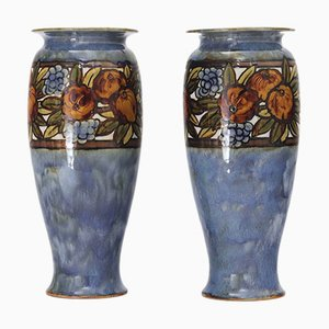 Stoneware Vases by Florence C Roberts & Florrie Jones for Doulton Lambeth, 1920s, Set of 2