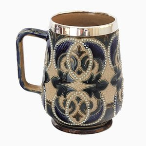 Mug with Mappin & Webb Silver Mount for Doulton Lambeth, 1880s