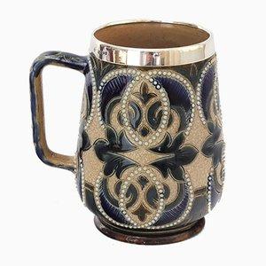 Tasse avec Finitions en Argent pour Doulton Lambeth, 1880s