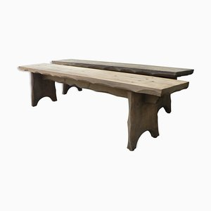 Vintage Rustic Farmhouse Benches, Set of 2