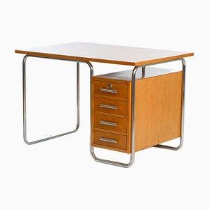 Vintage Schreibtisch mit Gestell aus Stahlrohr von Fa. Vichr & Co., 1930er