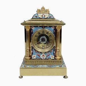 French Brass & Champleve Mantel Clock from Samuel Marti, 1890s