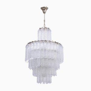 Lámpara de araña italiana vintage de vidrio de Venini, años 60
