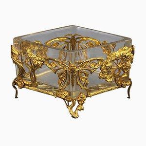 Centrotavola Art Nouveau in metallo dorato e vetro, Francia, fine XIX secolo