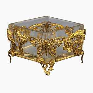 French Art Nouveau Gilt Metal Centrepiece with Glass Liner, 1890s