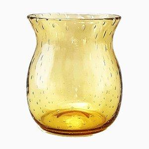 Vaso vintage in vetro ambrato a bolle di Whitefriars, anni '30