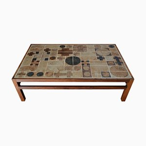 Mid-Century Danish Rosewood Coffee Table with Ceramic Tiled Top by Eric Wørtz & Tue Poulsen