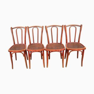 Vintage Wood Bistro Chairs, Set of 4