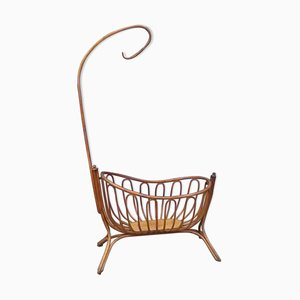 Antique Baby Cradle with Bentwood Rocker