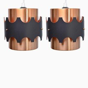 Lámparas colgantes Mid-Century pintadas en cobre, años 60. Juego de 2