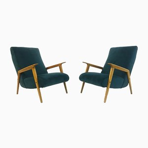 Mid-Century Italian Teal Velvet Armchairs, Set of 2