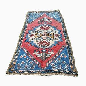 Alfombra Oushak turca vintage pequeña tejida a mano, años 70