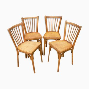 Mid-Century Baumann Wooden Bistro Chairs, 1950s, Set of 4