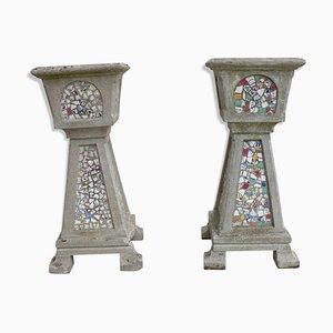 Vintage Blumentöpfe mit Mosaik, 2er Set