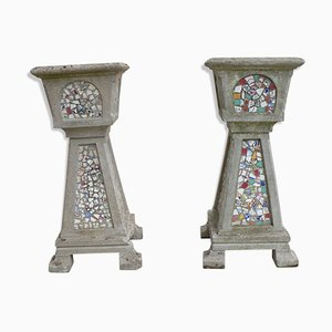 Vintage Mosaic Plant Pots, Set of 2