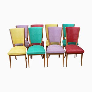Mid-Century French Multicolored Chairs, 1960s, Set of 8
