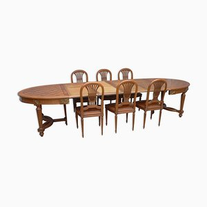 Antiker ovaler Louis XVI Tisch mit Stühlen, 7er Set