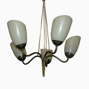 Brass Tulip Ceiling Lamp, 1950s